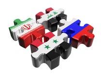 Anti-terrorist coalition in Syria. Puzzle - Anti-terrorist coalition in Syria  over white. Flags of Russia, Syria, Iraq, Iran Stock Image