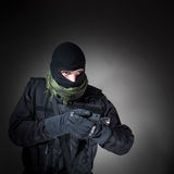 Anti-terrorist unit policeman during mission Stock Photo