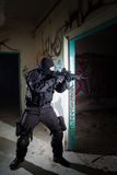 Anti terrorist unit policeman during the night mission Royalty Free Stock Images