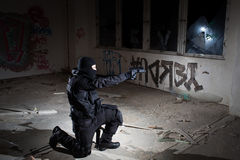 Anti terrorist unit policeman during the night mission Stock Images