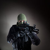 Anti terrorist unit policeman/soldier during the night operation Royalty Free Stock Image