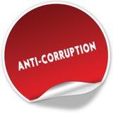 ANTI texte de CORRUPTION sur l'autocollant rouge réaliste sur le fond blanc Photographie stock