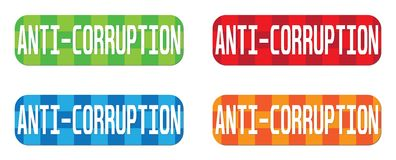 ANTI texte de CORRUPTION, sur le rectangle, signe de timbre de modèle de zigzag Photo stock