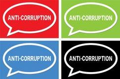 ANTI texte de CORRUPTION, sur le signe de bulle de la parole d'ellipse Photographie stock libre de droits