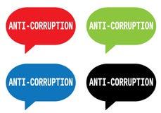 ANTI texte de CORRUPTION, sur le signe de bulle de la parole de rectangle Image libre de droits