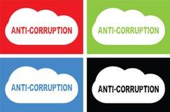ANTI texte de CORRUPTION, sur le signe de bulle de nuage Images libres de droits
