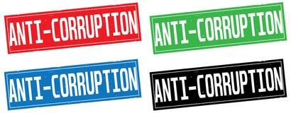 ANTI texte de CORRUPTION, sur le signe de timbre de rectangle Photo libre de droits