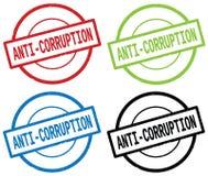 ANTI texte de CORRUPTION, sur le signe simple rond de timbre Photographie stock libre de droits