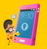 Anti-theft. Smartphone. Neat Vector illustration Royalty Free Stock Images