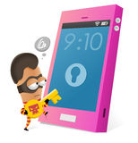 Anti-theft app for smartphone. Vector illustration Stock Photos