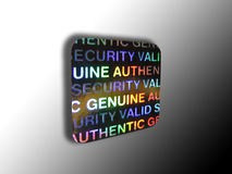 Anti-theft security halogram. Holographic anti-theft device  on a black and white gradient background Royalty Free Stock Photo