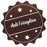 ANTI timbre de CORRUPTION de Brown sur le fond blanc Image libre de droits