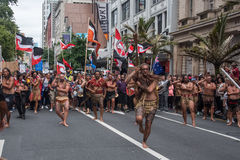 The anti-TPPA march in Auckland, NZ Stock Image