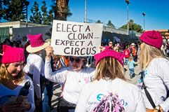 Anti-Trump messages at the 2018 Women`s March in Santa Ana. Stock Image