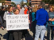 Anti-Trump messages at the 2018 Women`s March in Santa Ana. Royalty Free Stock Images