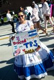 Anti-Trump messages at the 2018 Women`s March in Santa Ana. Santa Ana, California - January 20, 2018: Women holding an anti-Trump signs at the 2018 Women`s Royalty Free Stock Photos