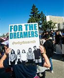 Anti-Trump messages at the 2018 Women`s March in Santa Ana. Santa Ana, California - January 20, 2018: Women holding an anti-Trump signs at the 2018 Women`s Royalty Free Stock Image