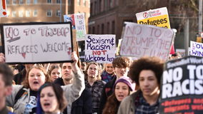 Anti Trump Protest. Bristol,UK - February 4, 2017: Protestersmarch through the city centre demonstrating against US President Donald Trump. Several thousands Royalty Free Stock Photos