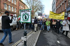 Anti Trump Protest. Bristol,UK - February 4, 2017: Protestersmarch through the city centre demonstrating against US President Donald Trump. Several thousand Stock Photo