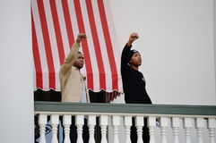 Anti-Trump Protest Tallahassee, Florida. African American protestors standing on the portico of the historic capitol with fists raised Stock Photo