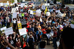 Anti-Trump Protest Tallahassee, Florida. Crowd gathered in front of the steps of the historic capital against the travel ban executive order Stock Image