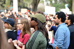 Anti-Trump Protest Tallahassee, Florida. A group of people listening to a speaker at the rally opposing the travel ban executive order Royalty Free Stock Photos