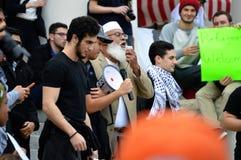 Anti-Trump Protest Tallahassee, Florida. Islamic Imam addresses the crowd Royalty Free Stock Photo