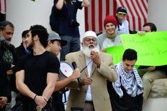 Anti-Trump Protest Tallahassee, Florida. Islamic Imam addressing the gathered crowd Stock Photo
