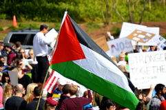 Anti-Trump Protest Tallahassee, Florida. Palestinian Flag being waved at the rally against the Muslim Refugee Ban royalty free stock images