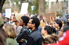 Anti-Trump Protest Tallahassee, Florida. People listening to the speakers opposing the executive order given by president trump banning travel from muslim Royalty Free Stock Photo
