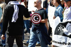 Anti-Trump Protest, Tallahassee, Florida. Protester with star and crescent shield royalty free stock image