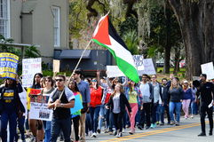 Anti-Trump Protest, Tallahassee, Florida. Protesters marching down Call Street with signs on February 4, 2017 royalty free stock photos