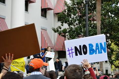 Anti-Trump Protest Tallahassee, Florida. Signs held up in front of the historic capitol Stock Photos