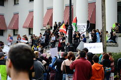 Anti-Trump Protest Tallahassee, Florida. View from the crowd up to the historic capitol where the speakers were leading the rally royalty free stock image
