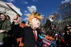 Anti trump protester in the Washington square park stock image