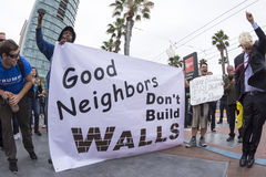 Anti-Trump protesters against the wall royalty free stock photography