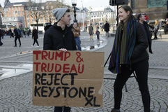 ANTI TRUMP AND TRUDEAU RALLY Stock Photography