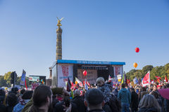 Anti TTIP demonstration in Berlin. Berlin - October 10th, 2015, hundreds of thousands of protesters demonstrate against the Transatlantical Trade and Investment Royalty Free Stock Photos