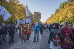 Anti TTIP demonstration in Berlin. Berlin - October 10th, 2015, hundreds of thousands of protesters demonstrate against the Transatlantical Trade and Investment Royalty Free Stock Photo