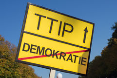 Anti ttip sign - no ttip slogan sign Stock Images