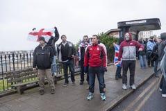 Anti-UKIP Marsch rechter Wing Protesters-Herausforderung in Margate lizenzfreies stockfoto