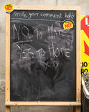 Anti UKIP message on blackboard. Anti UKIP and Farage message at a stall Royalty Free Stock Photography