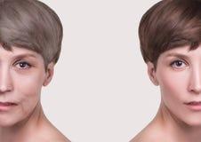 Anti-veroudert, schoonheidsbehandeling, verouderen en jeugd, die skincare, plastische chirurgieconcept de opheffen stock foto