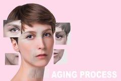 Anti-veroudert, schoonheidsbehandeling, verouderen en jeugd, die skincare, plastische chirurgieconcept de opheffen royalty-vrije stock fotografie