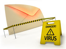 Anti virus concept. Mail with virus files inside behind danger tape and warning sign Royalty Free Stock Photo