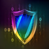 Anti virus protecting in binary internet space vector Royalty Free Stock Image