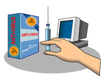 Anti-virus protection for you. Vector illustration on protecting your pc stock illustration