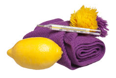 Anti-virus remedy. Lemon with medical thermometer and warm knitted scarf isolated on white stock images