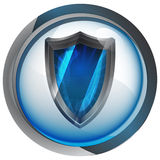 Anti virus shield in shiny glass circle button  Royalty Free Stock Photography