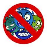 Anti virus sign. Anti disease sign with a funny cartoon virus Royalty Free Stock Photos